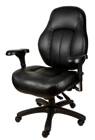 Black Leather Tilt Swivel Office Chair with Casters