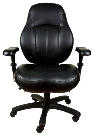 casters: Black Leather Tilt Swivel Office Chair with Casters