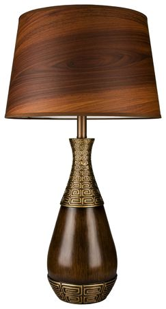 lamp shade: Contemporary Wood and Brass Table Lamp with Wood Grain Lamp Shade