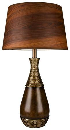 Eigentijdse hout en Brass tafellamp met hout graan Lamp schaduw Stockfoto
