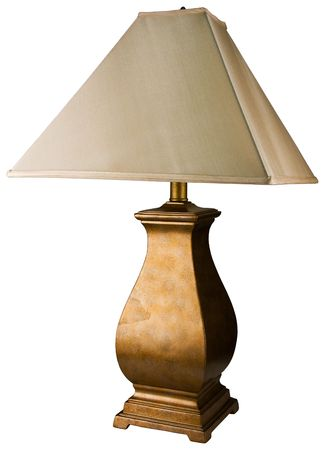 lamp shade: Contemporary Gold Painted Table Lamp with White Shade Stock Photo