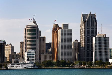 michigan: Downtown Detroit Michigan Skyline and Detroit RiverDetroit, Michigan