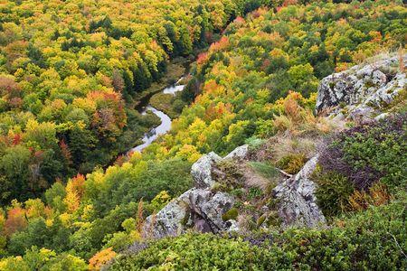 Autumn Color in Michigan Upper PeninsulaPorcupine Mountains Carp RiverSilver City, Michigan Stock Photo