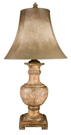 Contemporary Distressed Ceramic Table Lamp and Shade photo