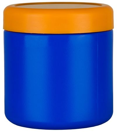 Blue And Orange Colorful Plastic Storage Jar Container  Stock fotó