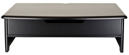 Black Monitor Stand with Pull out Drawer