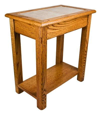 Solid Oak End Table With Ceramic Tile Top Stock Photo   6089975