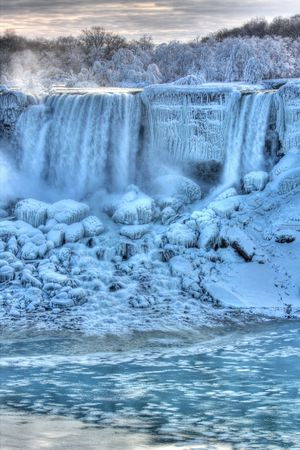 Niagara Falls in Winter American Falls Niagara Falls, Canada Stock Photo