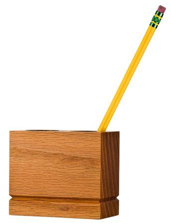 목재 데스크탑 오피스 작업 공간 연필 오거나이저 홀더 스톡 콘텐츠