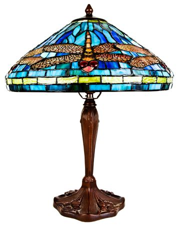 Stained Tiffany Glass Table Lamp with Dragon Fly Pattern