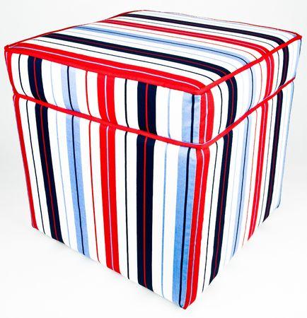 Colorful Cotton Striped Fabric Ottoman Storage Footrest Stock Photo