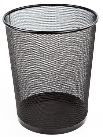 wastebasket: Round Metal Mesh Black Wastebasket Trash Can