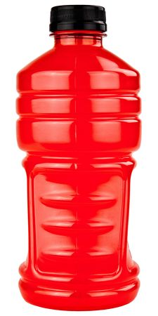 electrolytes: Red Sports Electrolytes Drink In Plastic Bottle