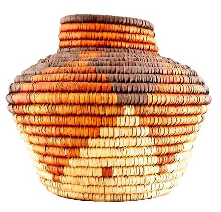 Colorful Native American Woven Pattern Basket