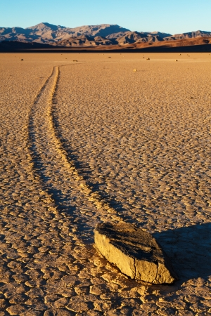 death valley: Sailing Stones Of Death Valley National Park Stock Photo