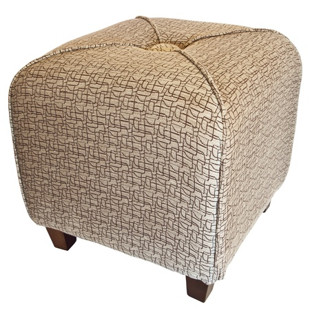 Upholstered Cube Ottoman Footrest with Wood Legs  Stock Photo