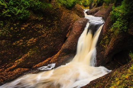 Gorge Falls Michigan Upper Peninsula Great Lakes Waterfall Stock Photo