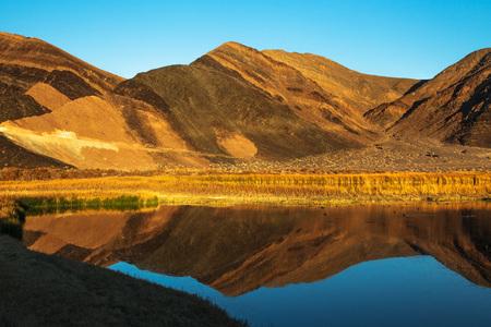 Ibex Hills ReflectionSaratoga SpringDeath Valley National ParkCalifornia Stock Photo