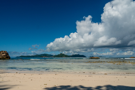 tropical landscape of a beach, Anse Severe, La Digue, Seychelles Stock Photo