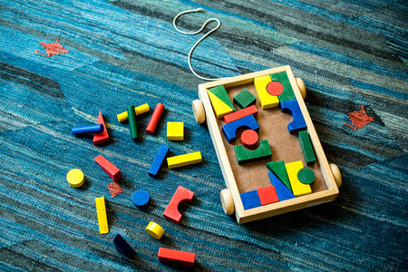 Wooden toys for didactic and educational purpose on a play field for children