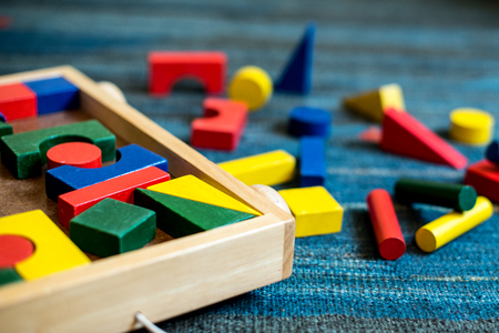 Geometrical and building wooden toys for children for didactic and educational purpose