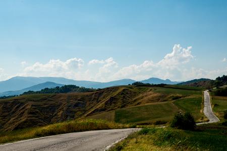 blacktop: Winding blacktop road through the hills, Monte Altavelio, Italy