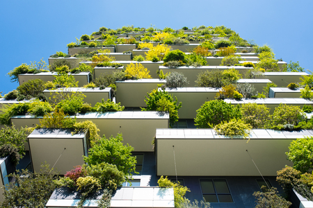 Modern and ecologic skyscrapers with many trees on every balcony. Bosco Verticale, Milan, Italy Stok Fotoğraf