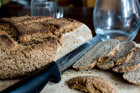 homemade bread, ingredients Khorasan Kamut wheat and rye flour, salt, water, leavened naturally for 24 hours with yeast base