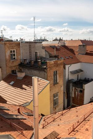 aerials on the roofs of a European city, view from a roof