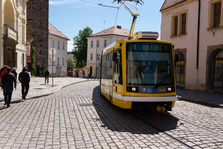 Pilzn, Czech Republic, 05/13/2019: yellow electric tram, typical public transport of the city of Pilzn Publikacyjne