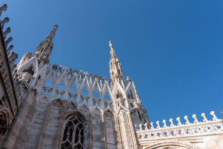 examples of details of gothic architecture, cathedral of milan, italy