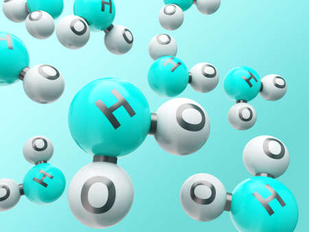 h20 water molecules on the gradient background Stock Photo - 13138176