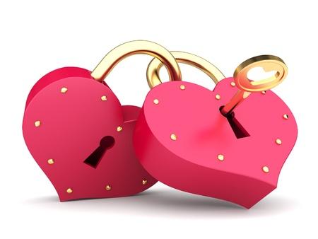 a couple of padlock  locked hearts photo