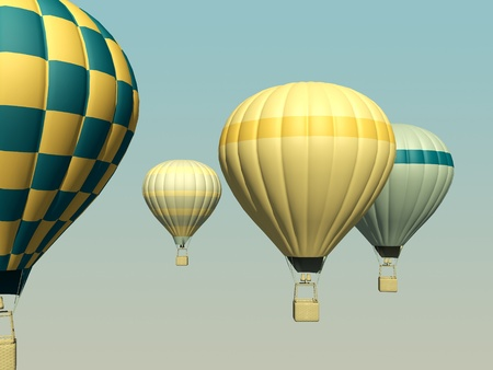3d aerostats in ventage stile Stock Photo