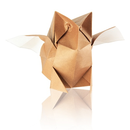 origami japanese owl on the white background Stock Photo - 13641970