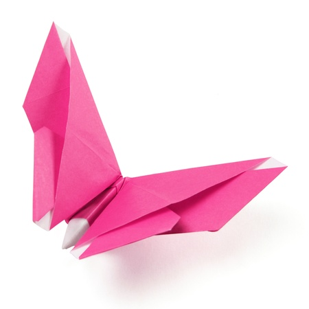 pink origami butterfly on the white background