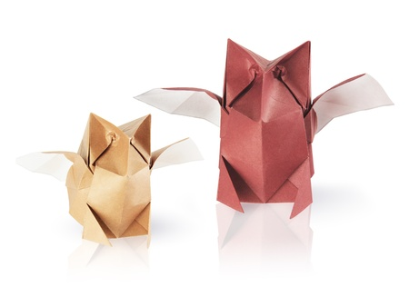 set of two origami owls on the white background Stock Photo - 13641975