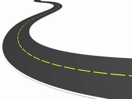 3d road on the white background