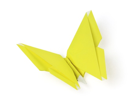 yellow origami butterfly on the white background Stock Photo - 13796714