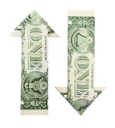 dollar arrows in origami on the white background Stock Photo - 13796710