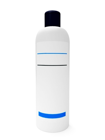 3d shampoo bottle on the white background