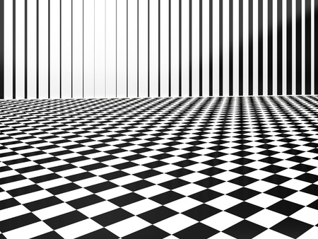 3d black and white checkers abstract interior Stock Photo