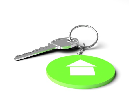 3d  green key chain on the twite background