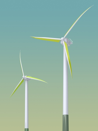 3d green windmill on the gradient background photo