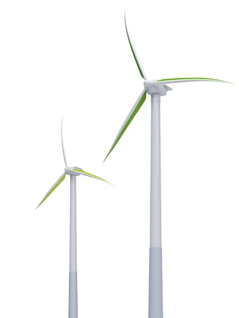 3d green windmills on the white background Stock Photo