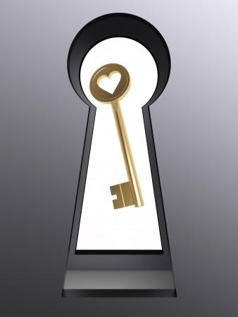 3d big rendered metal keyhole frame thith key photo