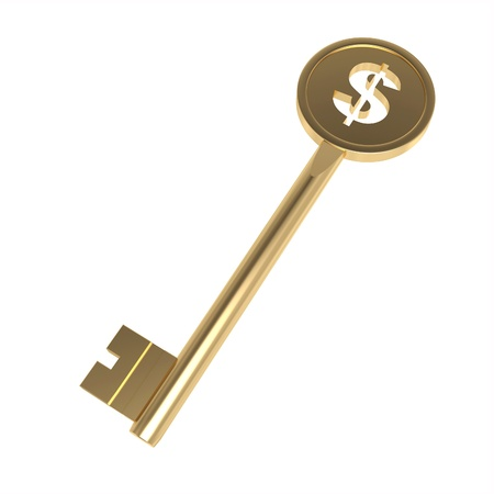 keys to success: 3d money key on the white background Stock Photo
