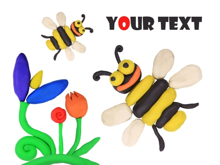 isolated plasticine bees on the white background Stock Photo