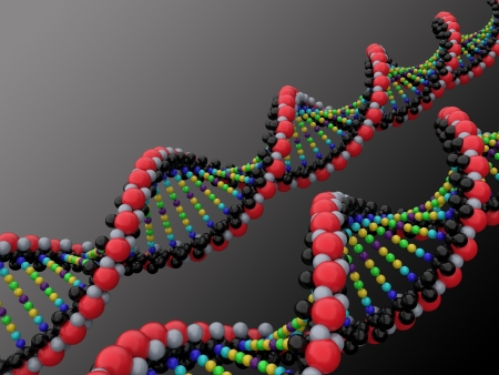 dna double helix: 3d dna on the gradient background