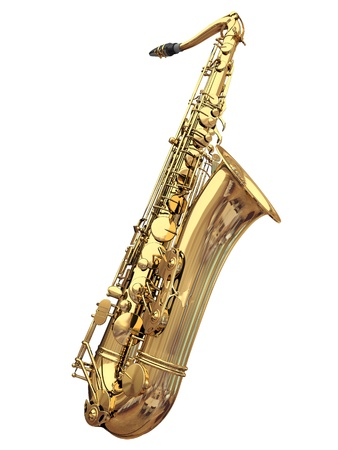 3d saxophone on a white background Banque d'images